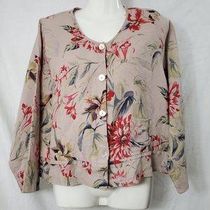 FLAX Linen Floral Top/Jacket